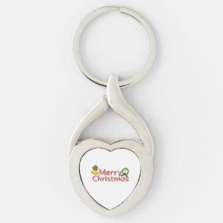 Merry Christmas Bell Lantern Wreath Candle Buttons Silver-Colored Heart-Shaped Metal Keychain