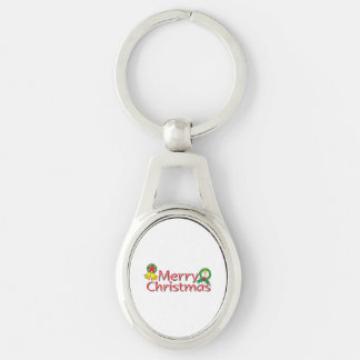 Merry Christmas Bell Lantern Wreath Candle Buttons Silver-Colored Oval Metal Keychain