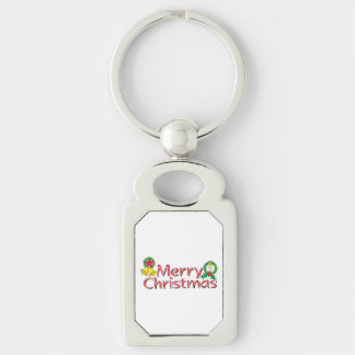 Merry Christmas Bell Lantern Wreath Candle Buttons Silver-Colored Rectangular Metal Keychain