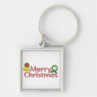 Merry Christmas Bell Lantern Wreath Candle Buttons Silver-Colored Square Keychain