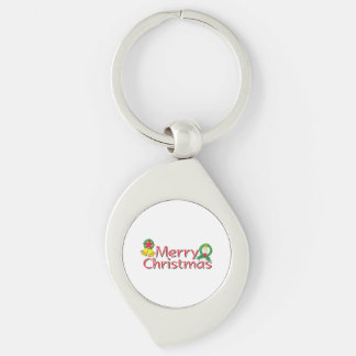 Merry Christmas Bell Lantern Wreath Candle Buttons Silver-Colored Swirl Metal Keychain
