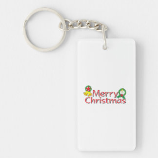Merry Christmas Bell Lantern Wreath Candle Buttons Single-Sided Rectangular Acrylic Keychain