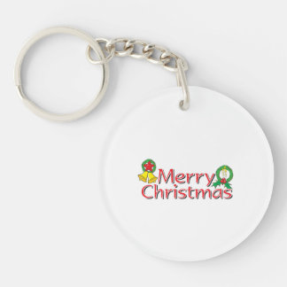 Merry Christmas Bell Lantern Wreath Candle Buttons Single-Sided Round Acrylic Keychain