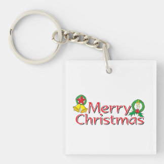 Merry Christmas Bell Lantern Wreath Candle Buttons Single-Sided Square Acrylic Keychain