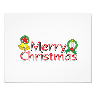 Merry Christmas Bell Lantern Wreath Candle Cards Photographic Print