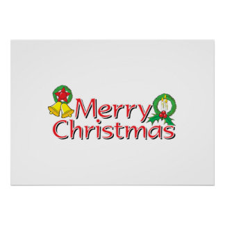 Merry Christmas Bell Lantern Wreath Candle Cards Poster
