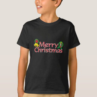 Merry Christmas Bell Lantern Wreath Candle Kids T-Shirt