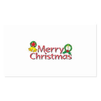 Merry Christmas Bell Lantern Wreath Candle Mistlet Business Card Templates