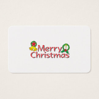 Merry Christmas Bell Lantern Wreath Candle Mistlet Business Card