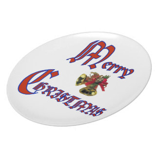 """Merry Christmas bell Plate 10"""""""