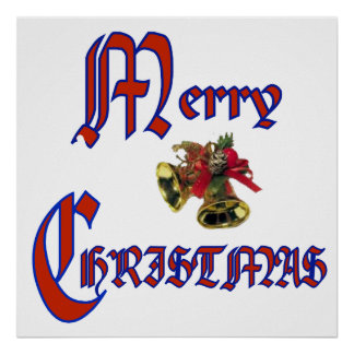 """Merry Christmas bell Poster 24x24"""""""