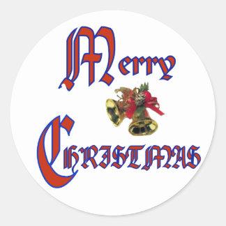 Merry Christmas bell Round Sticker