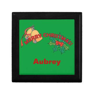 Merry Christmas Bells and Holly Keepsake Box