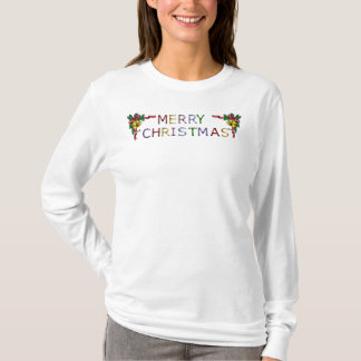 Merry Christmas Bells in Stained Glass T-Shirt