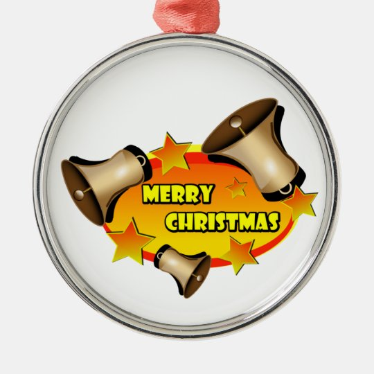 Merry Christmas Bells Metal Ornament