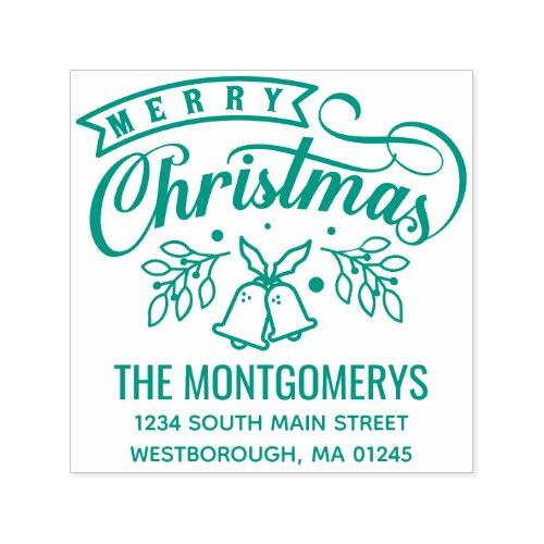 Merry Christmas Bells Monogram Name Return Address Self_inking Stamp