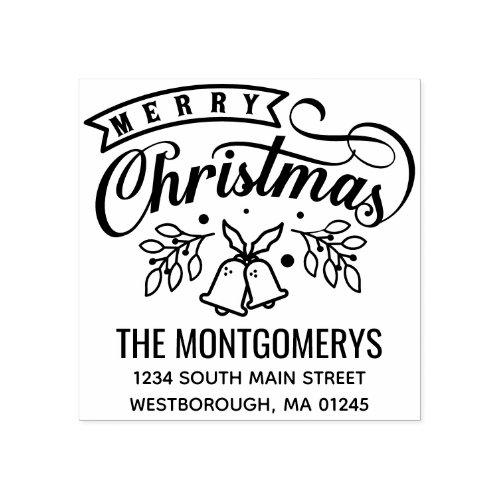 Merry Christmas Bells Script Return Address Rubber Stamp
