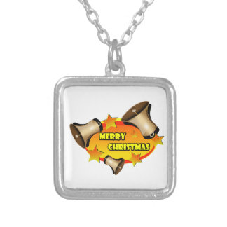 Merry Christmas Bells Silver Plated Necklace