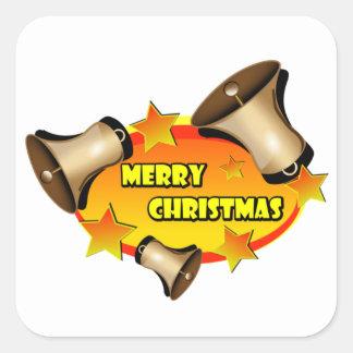Merry Christmas Bells Square Sticker