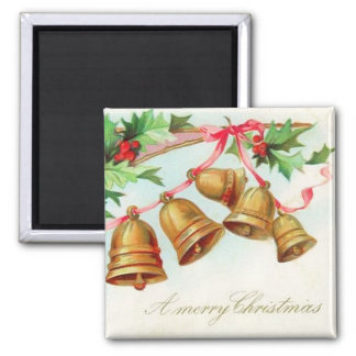 Merry Christmas Bells Vintage Magnet