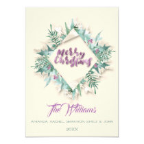 Merry Christmas Belly Monogram Ivory Mint  Purple Invitation