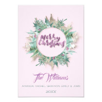 Merry Christmas Belly Wreath Monogram Pink Purple Invitation