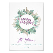 Merry Christmas Belly Wreath Monogram White Invitation