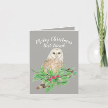 Merry Christmas Best Friend Barn Owl Watercolor Holiday Card