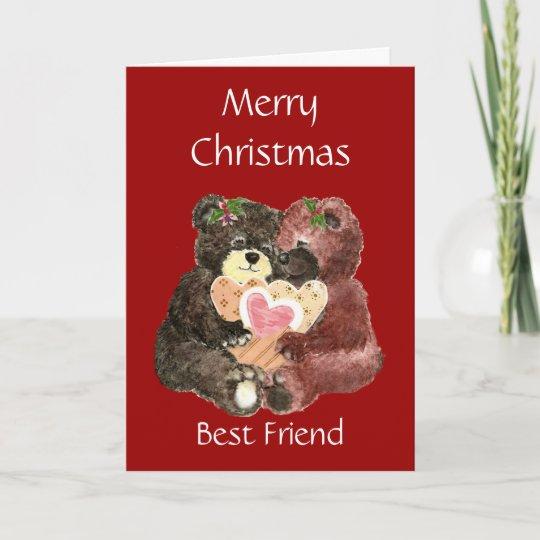merry christmas best friendteddy bear hugs holiday card