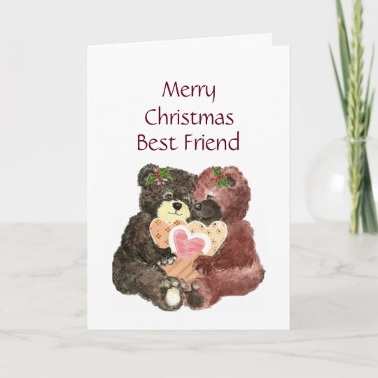 merry christmas best friend teddy bear hugs holiday card