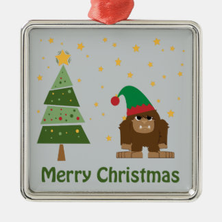 Merry Christmas Bigfoot Metal Ornament