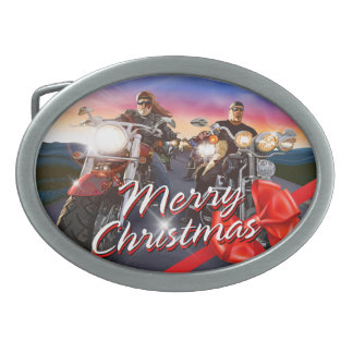 Merry Christmas Bikers 1 Belt Buckle Options