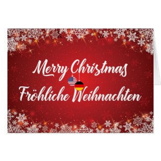 Merry Christmas Bilingual German American Card