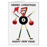 Merry Christmas Billiards Player Cards