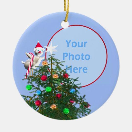 Merry Christmas Bird - Baby's First (photo frame) Ceramic Ornament