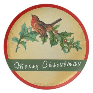 Merry Christmas Bird Melamine Plate