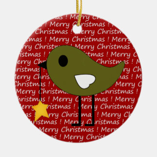 Merry Christmas Bird with Star Ornament Reversible
