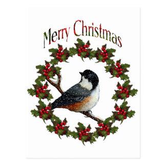 Merry Christmas: Bird, Wreath, Original Art Postcard