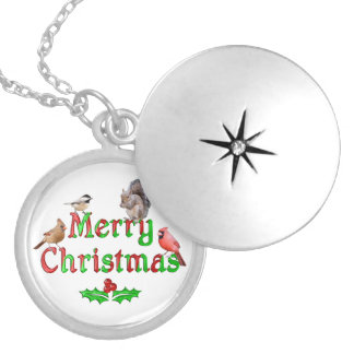 Merry Christmas Birds and Squirrel Locket Necklace
