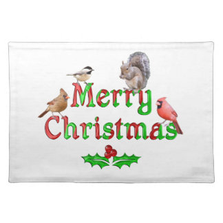 Merry Christmas Birds and Squirrel Placemat