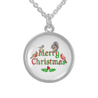 Merry Christmas Birds and Squirrel Sterling Silver Necklace