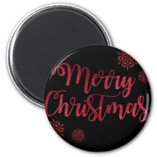 Merry Christmas Black and Red Snowflake Typography Magnet