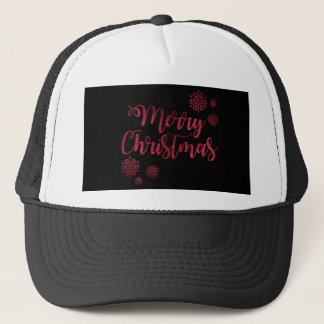 Merry Christmas Black and Red Snowflake Typography Trucker Hat