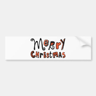 Merry Christmas - black and red Text Design Car Bumper Sticker
