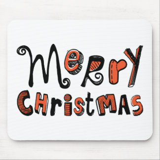 Merry Christmas - black and red Text Design Mouse Pad
