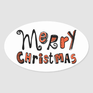 Merry Christmas - black and red Text Design Oval Sticker