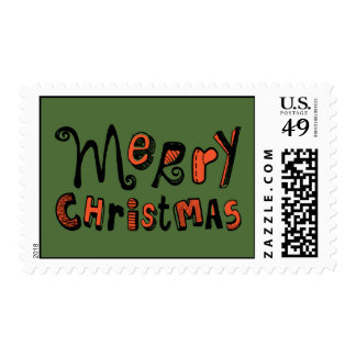 Merry Christmas - black and red Text Design Postage