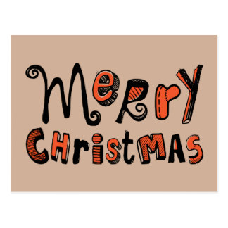 Merry Christmas - black and red Text Design Postcard