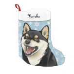 Merry Christmas Black and Tan Shiba Inu Stocking