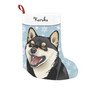 Christmas Themed Merry Christmas Black and Tan Shiba Inu Stocking